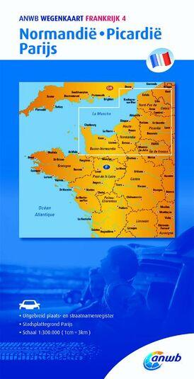 Wegenkaart 4. Normandië,Picardië,Parijs